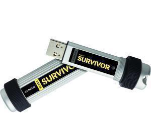 Corsair Flash Survivor 128 GB USB 3.0 Flash Drive - Silver - 256-bit AES