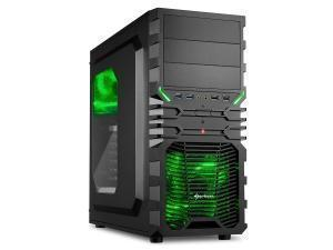 Sharkoon VG4-W Mid Tower case, Black & Green, Windowed