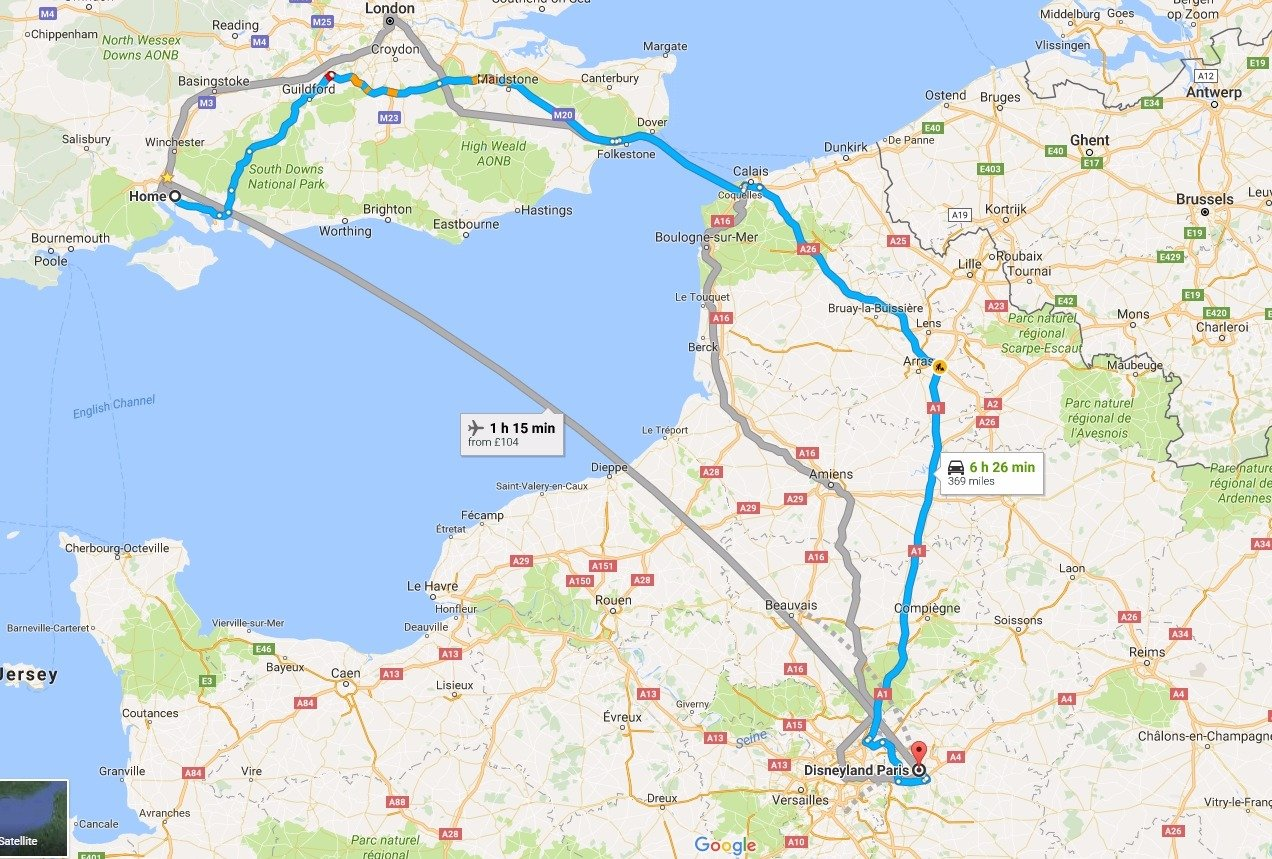 Map of journey from Home to Disneyland Paris