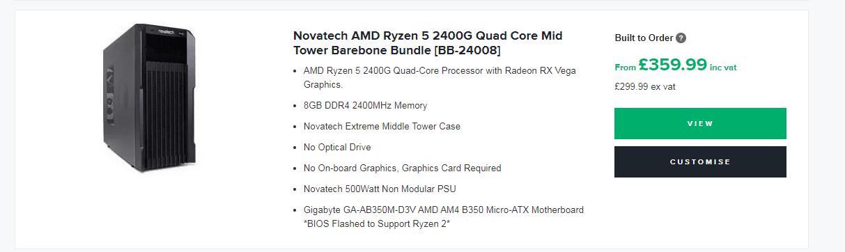 barebone bundle page listing
