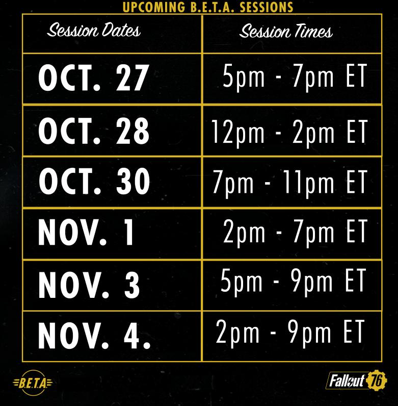 Fallout 76 Beta Schedule