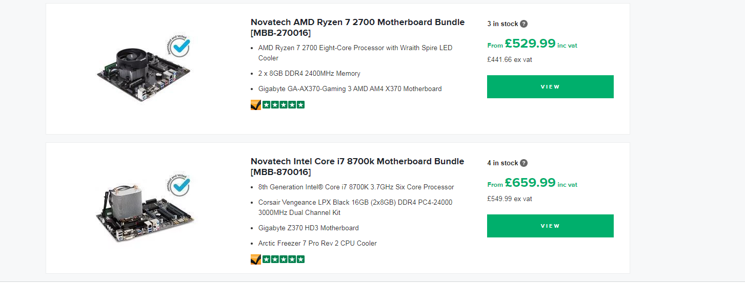 High end Motherboard Bundle page listing