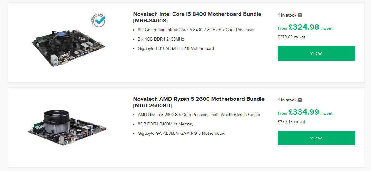 Motherboard Bundle page listing
