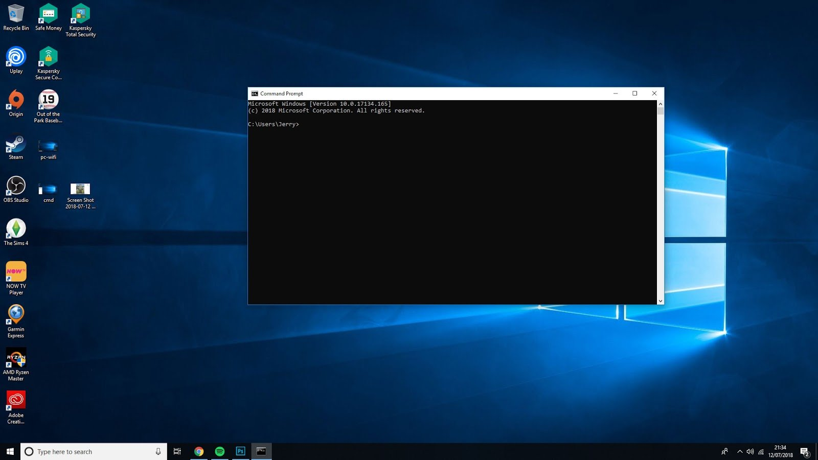 Command Prompt box open