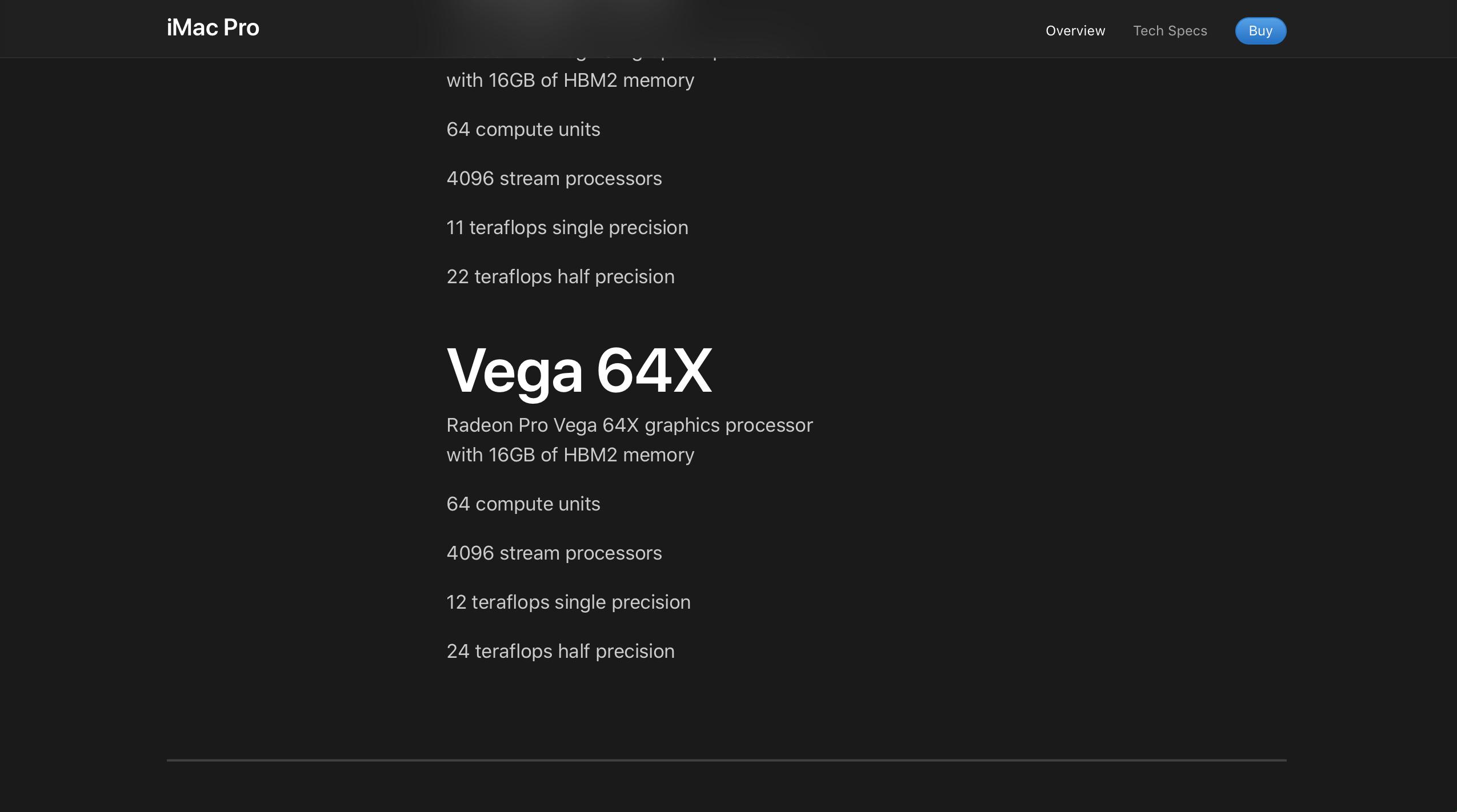 Radeon Pro Vega 64X specs