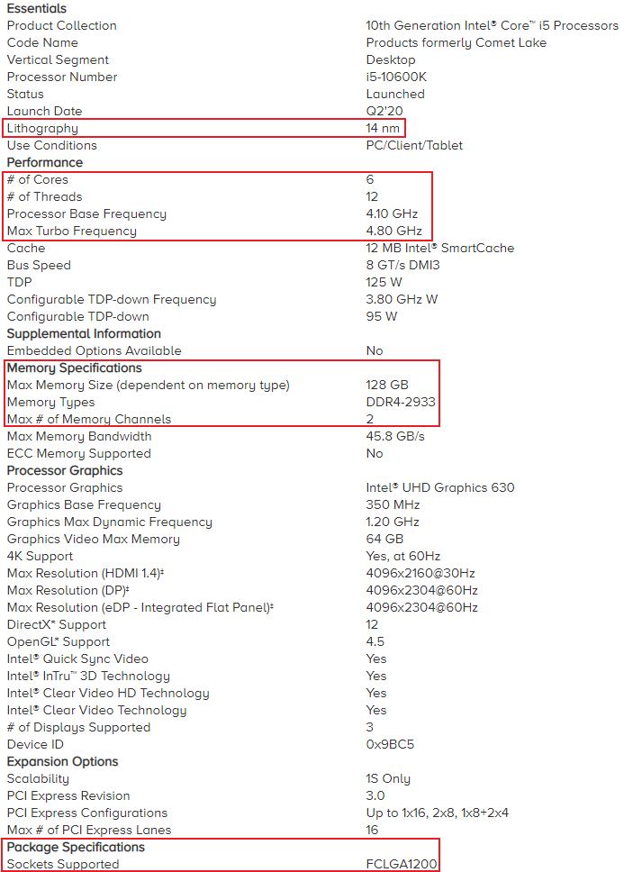 Intel i5 10600K Specs Highlighted