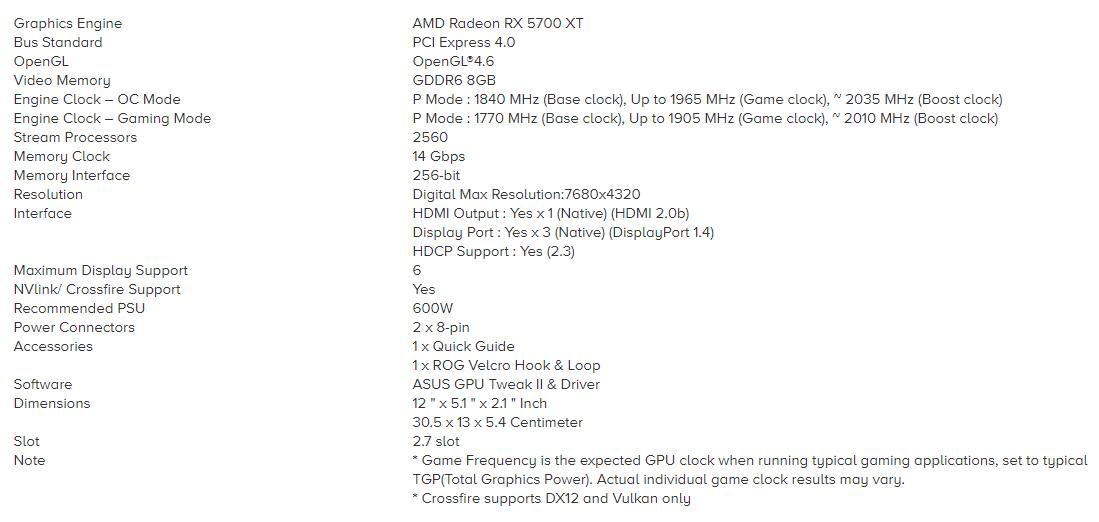 RX 5700XT Specs