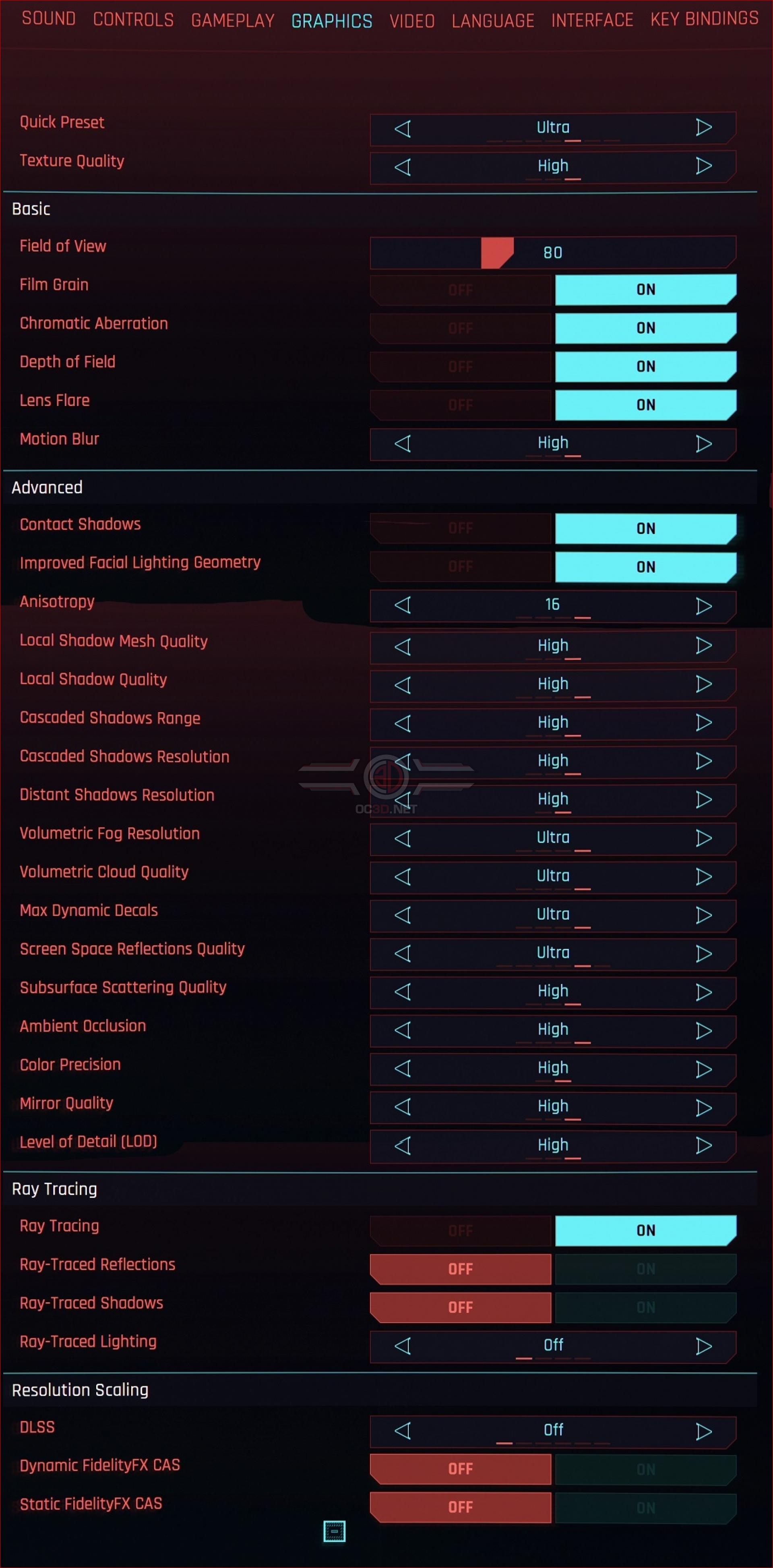 Cyberpunk 2077 Settings Menu