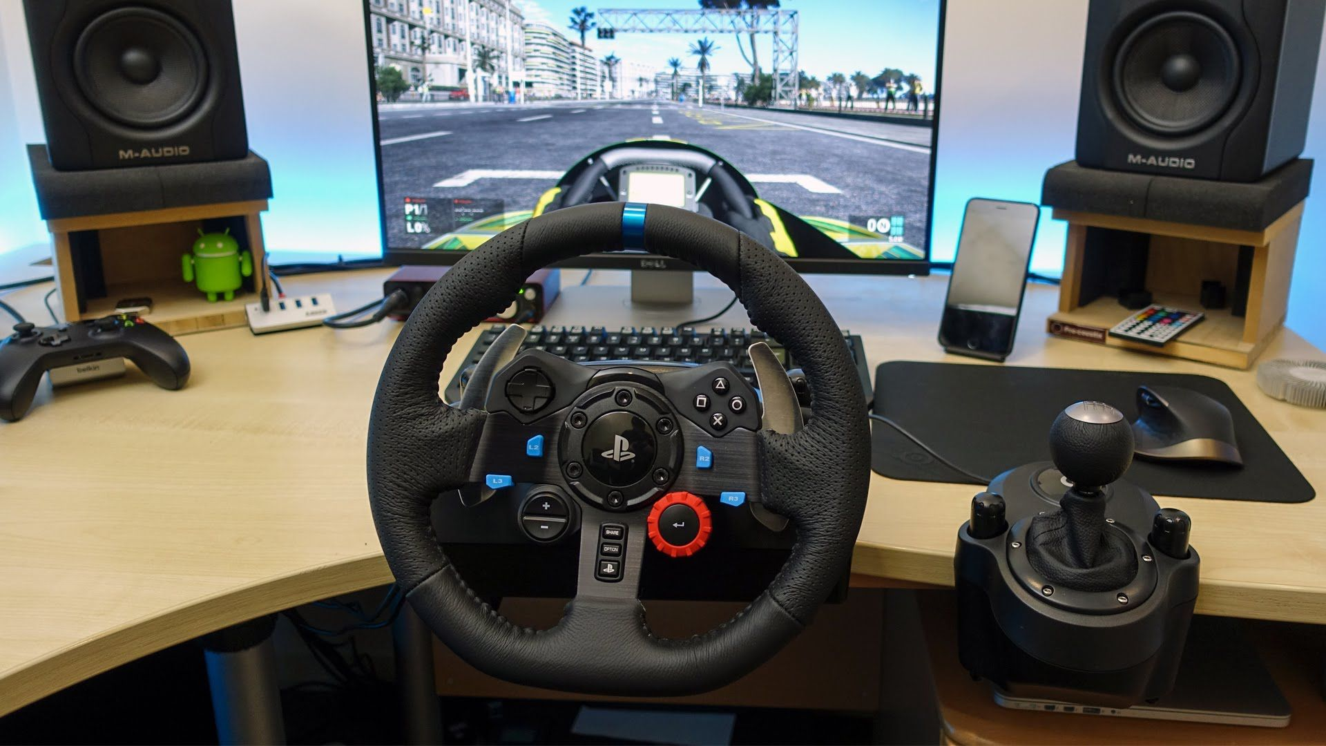 Racing wheel and pedals desk set-up