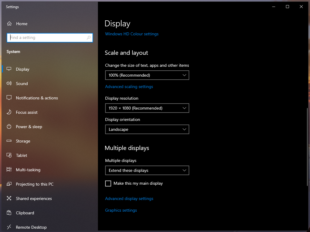 Display Settings - Extend these displays