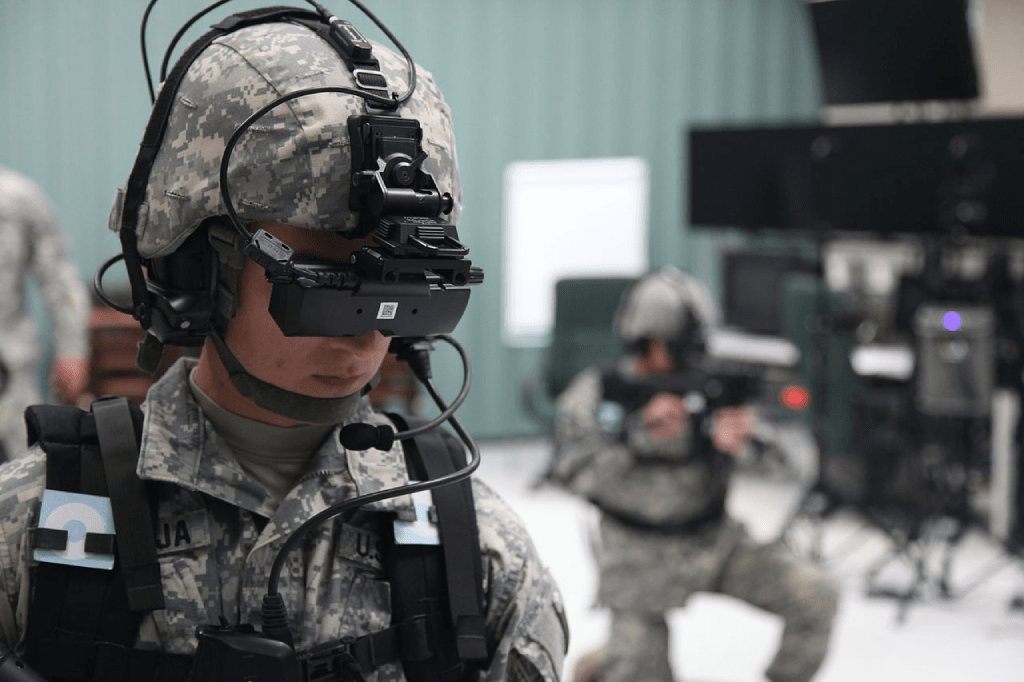 Soldiers in action using military simulation software