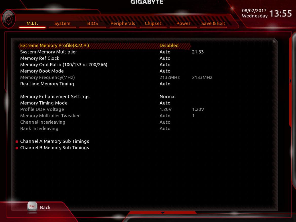 XMP BIOS Settings
