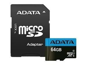 ADATA 64GB SDHC/SDXC UHS-I Class 10 Memory Card with Adapter