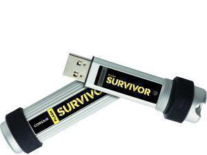 Corsair Flash Survivor 128 GB USB 3.0 Flash Drive - Silver - 256-bit AES