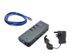 Addon 7 Ports USB 3.0 Hub and Universal Fast Charger with UK Power Adapter- V2
