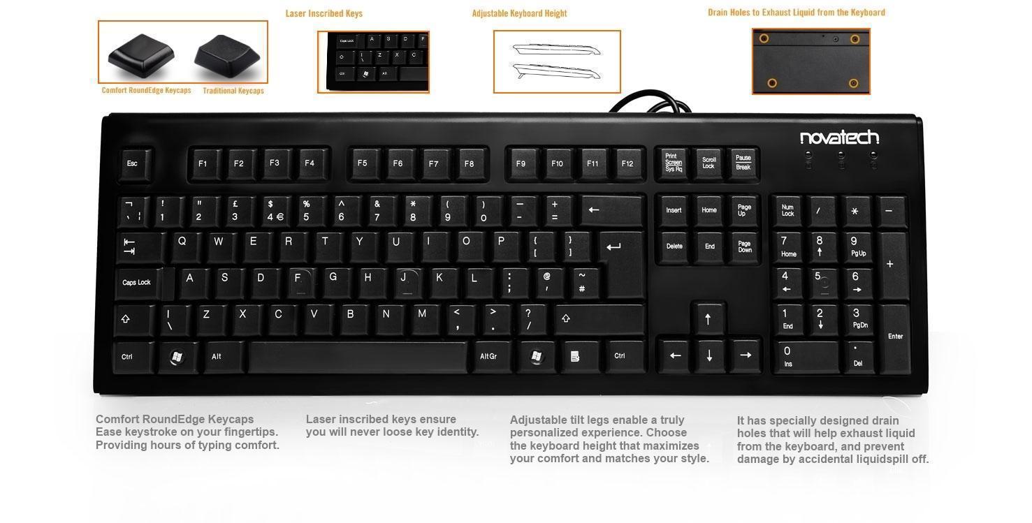 novatech wired usb keyboard v3 comfort key novatech. Black Bedroom Furniture Sets. Home Design Ideas
