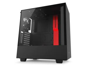 NZXT H500i Matte Black and Red Compact Mid-Tower Case with Tempered Glass - Smart Control