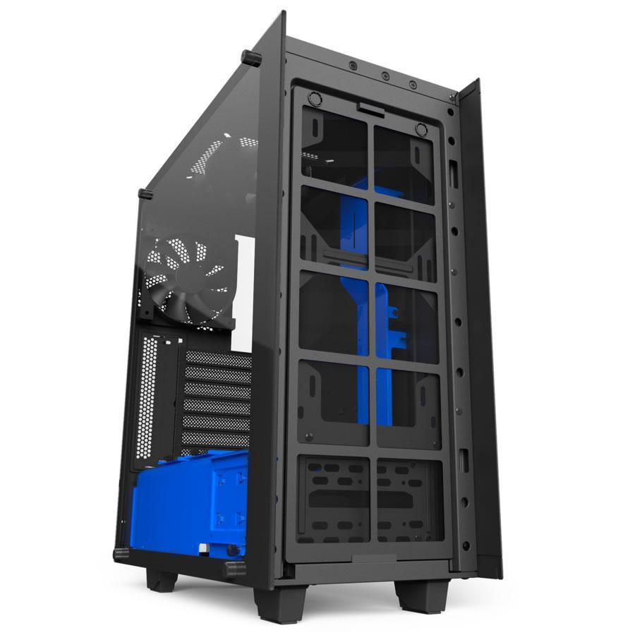 nzxt source 340 elite black blue mid tower case ca s340w b5 novatech. Black Bedroom Furniture Sets. Home Design Ideas