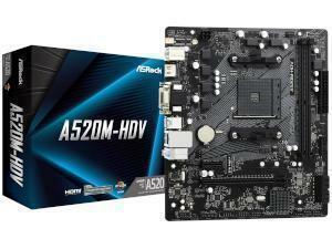 *B-stock item - 90 days warranty*ASRock A520M-HDV AMD A520 Chipset Socket AM4 Micro-ATX Motherboard