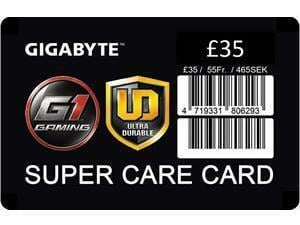 GIGABYTE £35 Super Care Card extended warranty insurance card