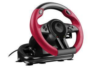 SPEEDLINK Trailblazer Vibration Effect Racing Wheel with Pedals for PlayStation PS4 and PS3/PC, Black / Red