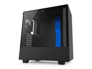 NZXT H500 Matte Black and Blue Compact Mid-Tower Case with Tempered Glass