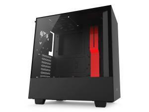 NZXT H500 Matte Black and Red Compact Mid-Tower Case with Tempered Glass
