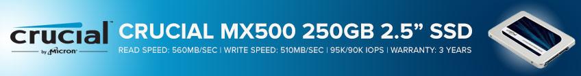 "Crucial MX500 250GB 2.5"" 7mm SATA 6Gb/s Internal Solid State Drive - Retail"