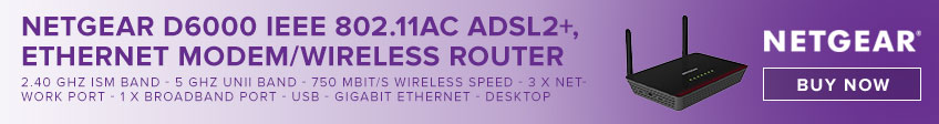 Netgear D6000 IEEE 802.11ac ADSL2+, Ethernet Modem/Wireless Router