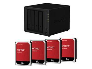 Synology DiskStation DS420j 4 x Total Bays SAN/NAS Storage System - Realtek Quad-core 4 Core 1.40 GHz - 1 GB RAM - DDR4 SDRAM Desktop plus 4x 6TB WD RED HDD